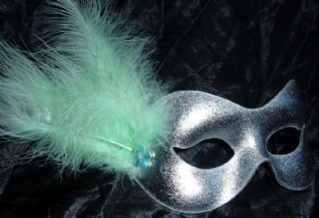 Silver & mint green flower masquerade mask